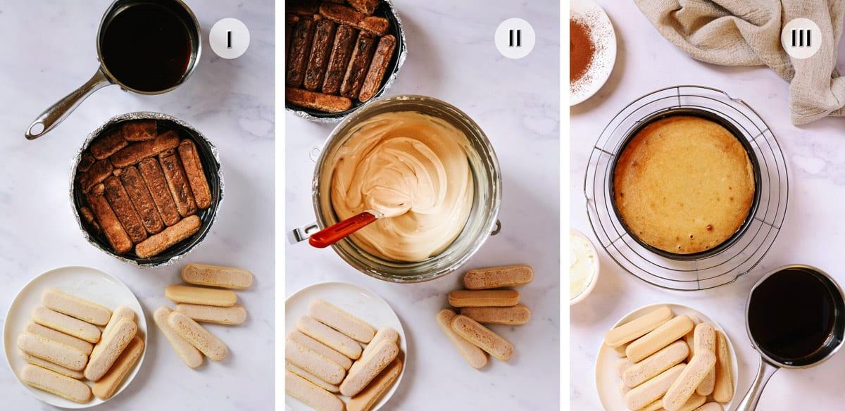 Three step photos to making the cheesecake layer for tiramisu cake.