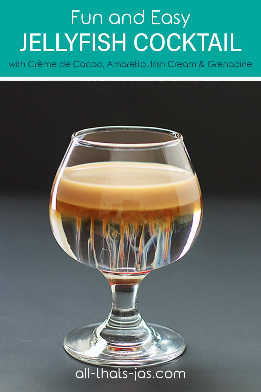 A small glass with alcoholic drink and text overlay