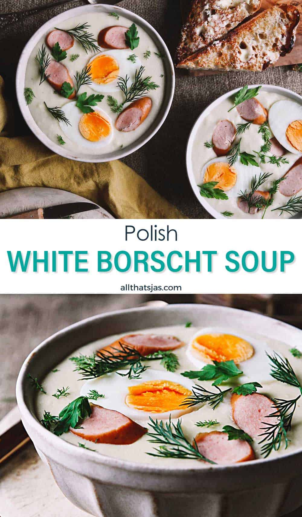 Two photo image of Polish soup with text overlay in the middle.