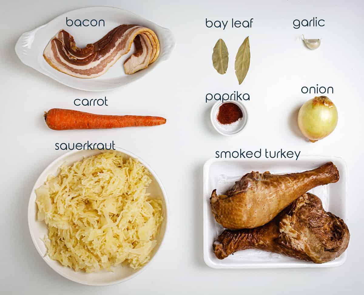 Ingredients for Serbian recipe for baked sauerkraut