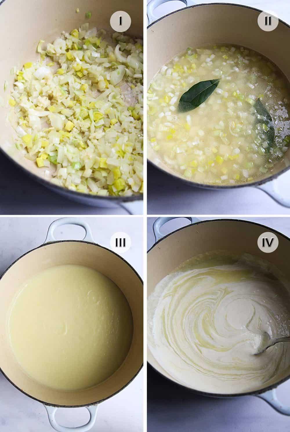 Four steps to making the base for Slavic white borscht.