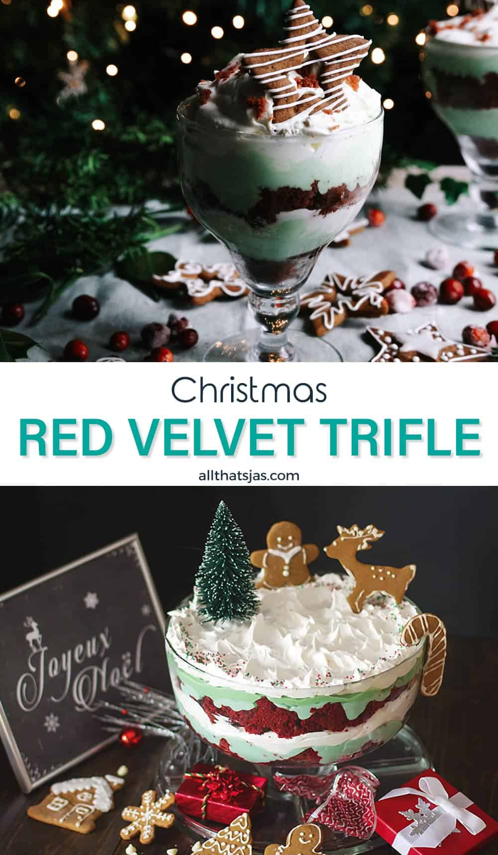 Two photo image of the Christmas trifle with text in the middle