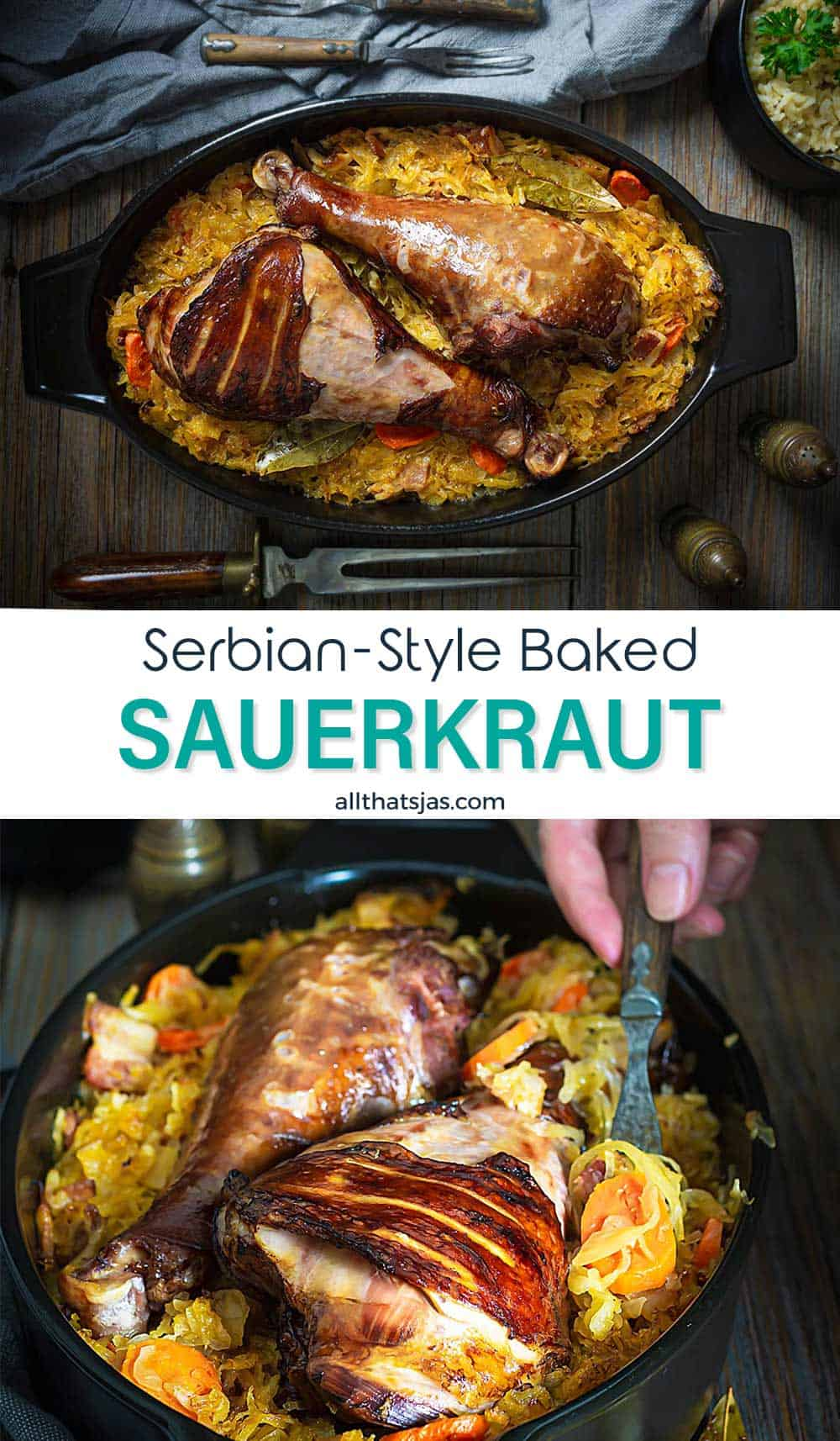 Two photo image fo Serbian dish with text overlay in the middle