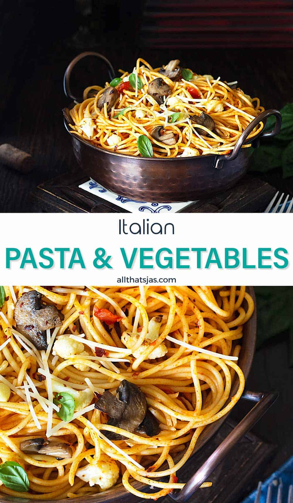 Two photo image with spaghetti dish and text overlay in the middle