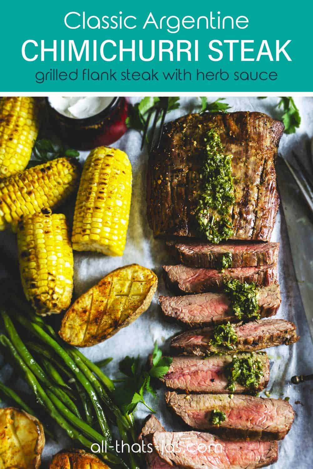 Steak sliced on a sheet pan with veggies and text overlay
