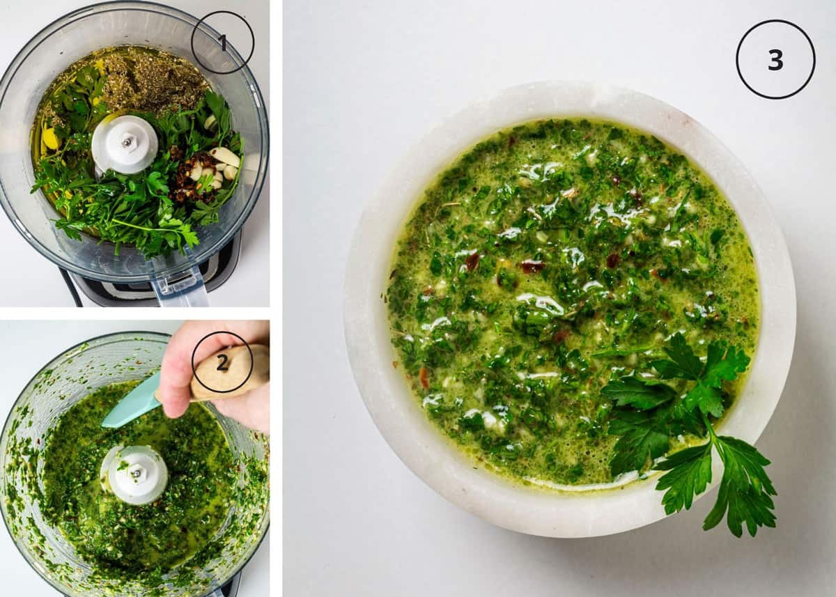 Steps to making Argentine herb sauce