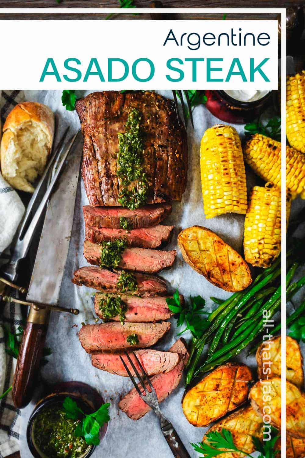 An overhead shot of the sliced flank steak with corn on the cob and text overlay