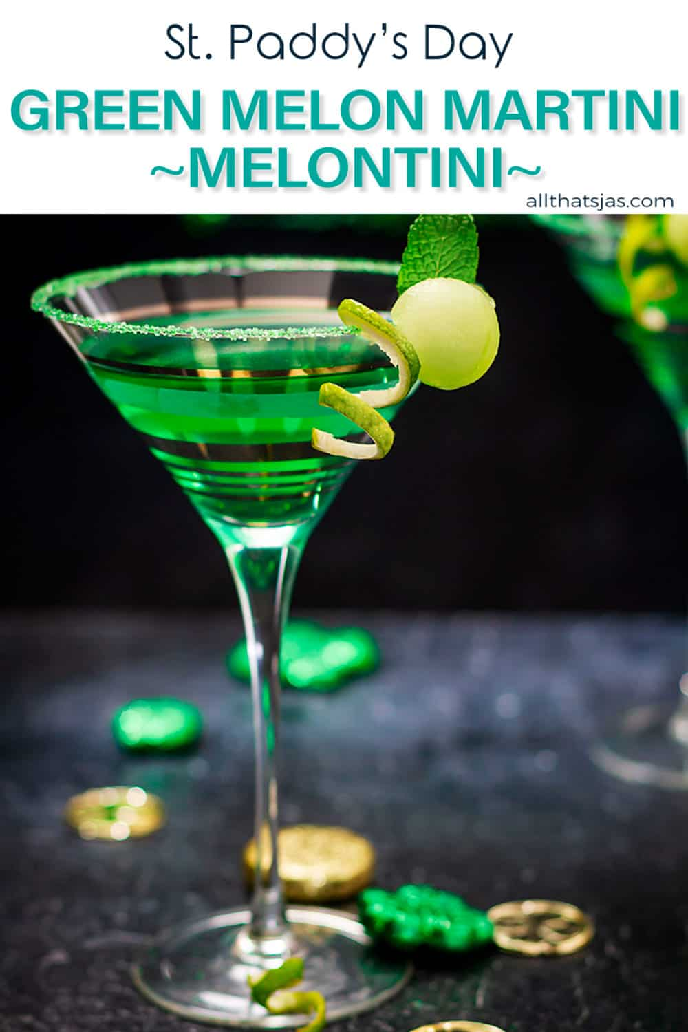 A melon martini in a glass on the black table with text overlay.