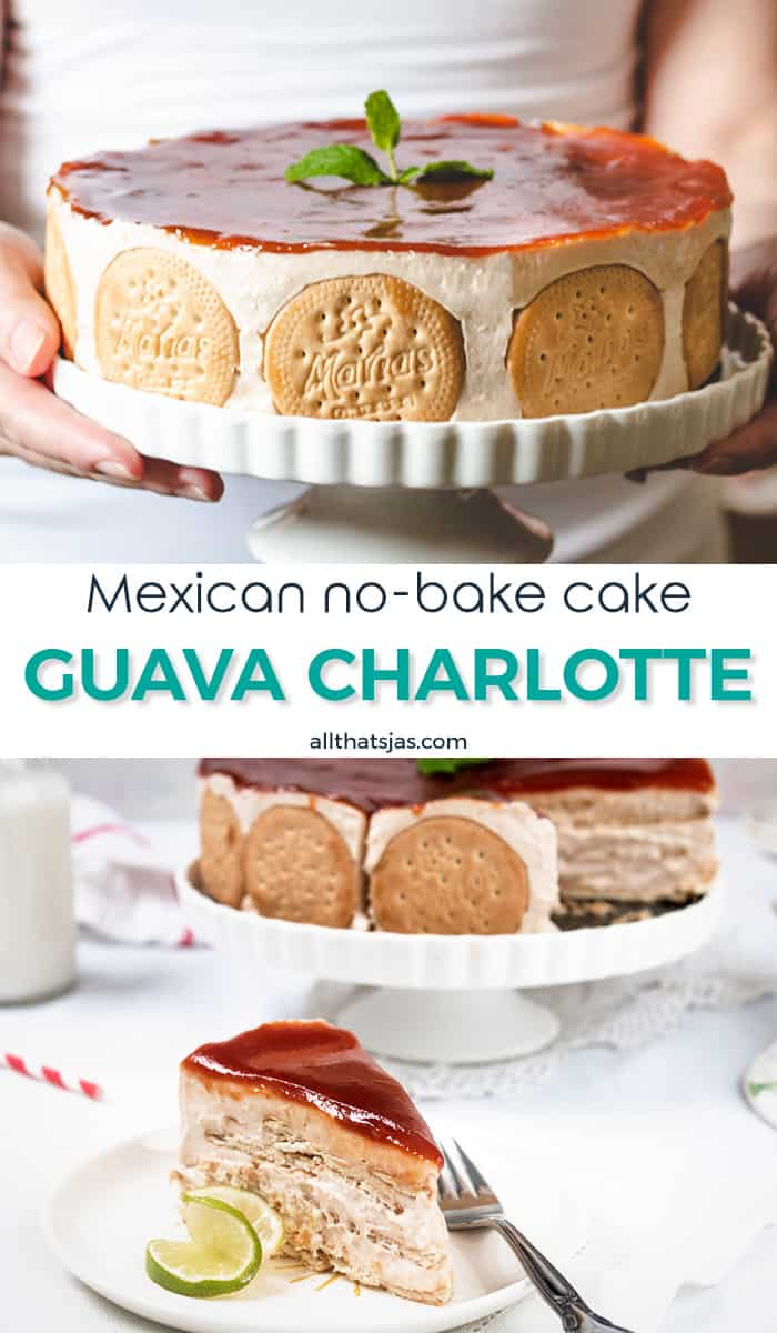 Two photo image of Charlotte with guava and text in the middle.