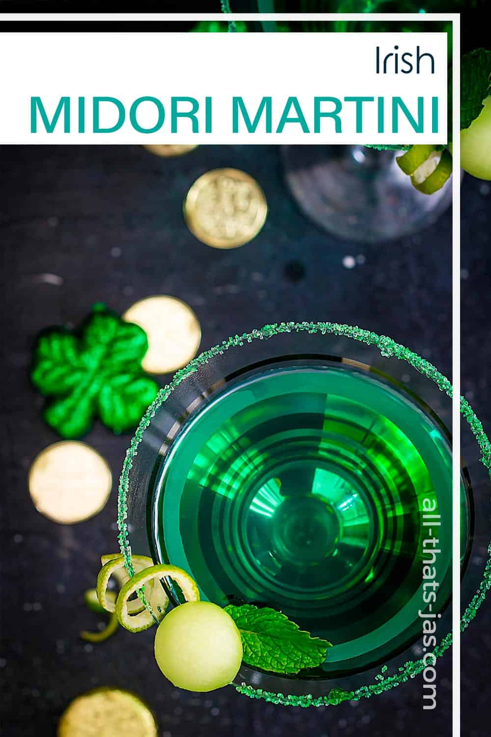 Overhead view of a green martini in a glass with text overlay.
