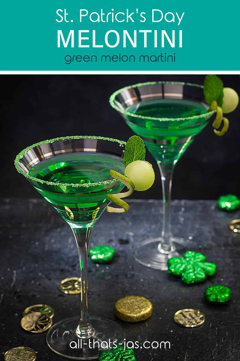 Two midori cocktails on a black background with shamrock decorations and text overlay.