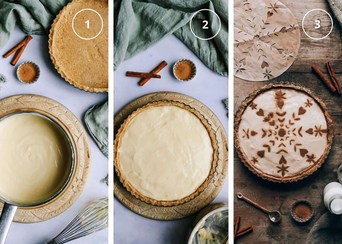 Three photo image that shows steps to making no bake milk tart.