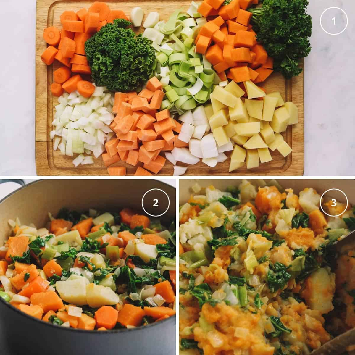Three photos showing easy steps to making stamppot dish from the Netherlands.