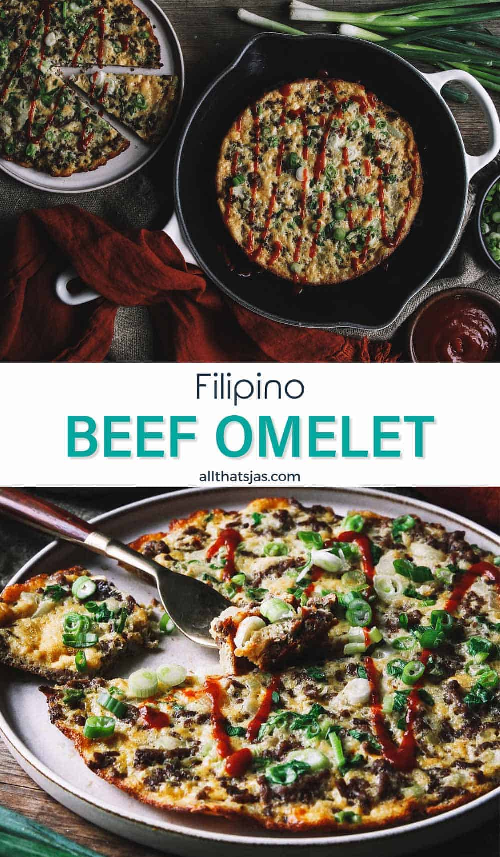 Two photo image of beef fritters and text overlay in the middle.