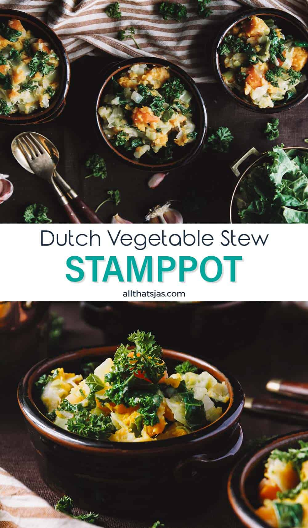 Two photo image of Dutch vegetarian stew with text overlay in the middle.