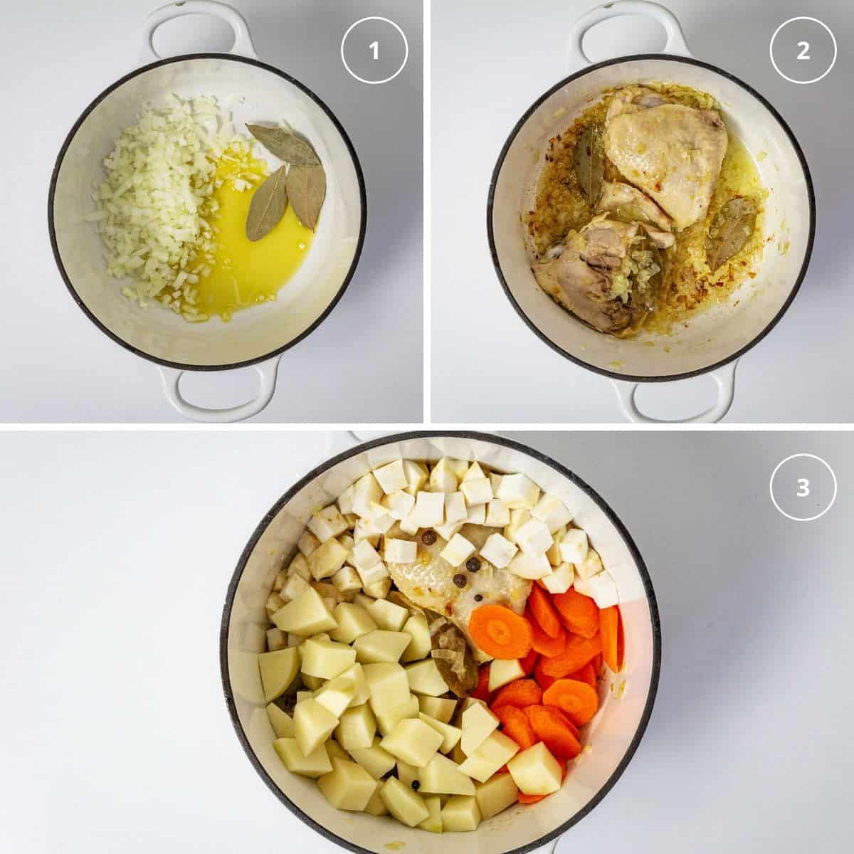 Pot with three steps to making chicken soup with vegetables.