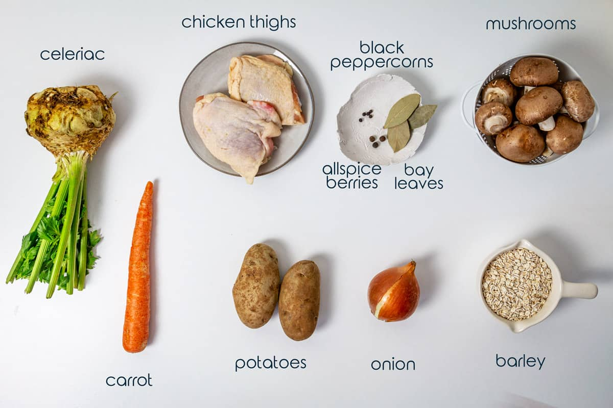 Ingredients for Polish soup with chicken, vegetables, and barley on a table.