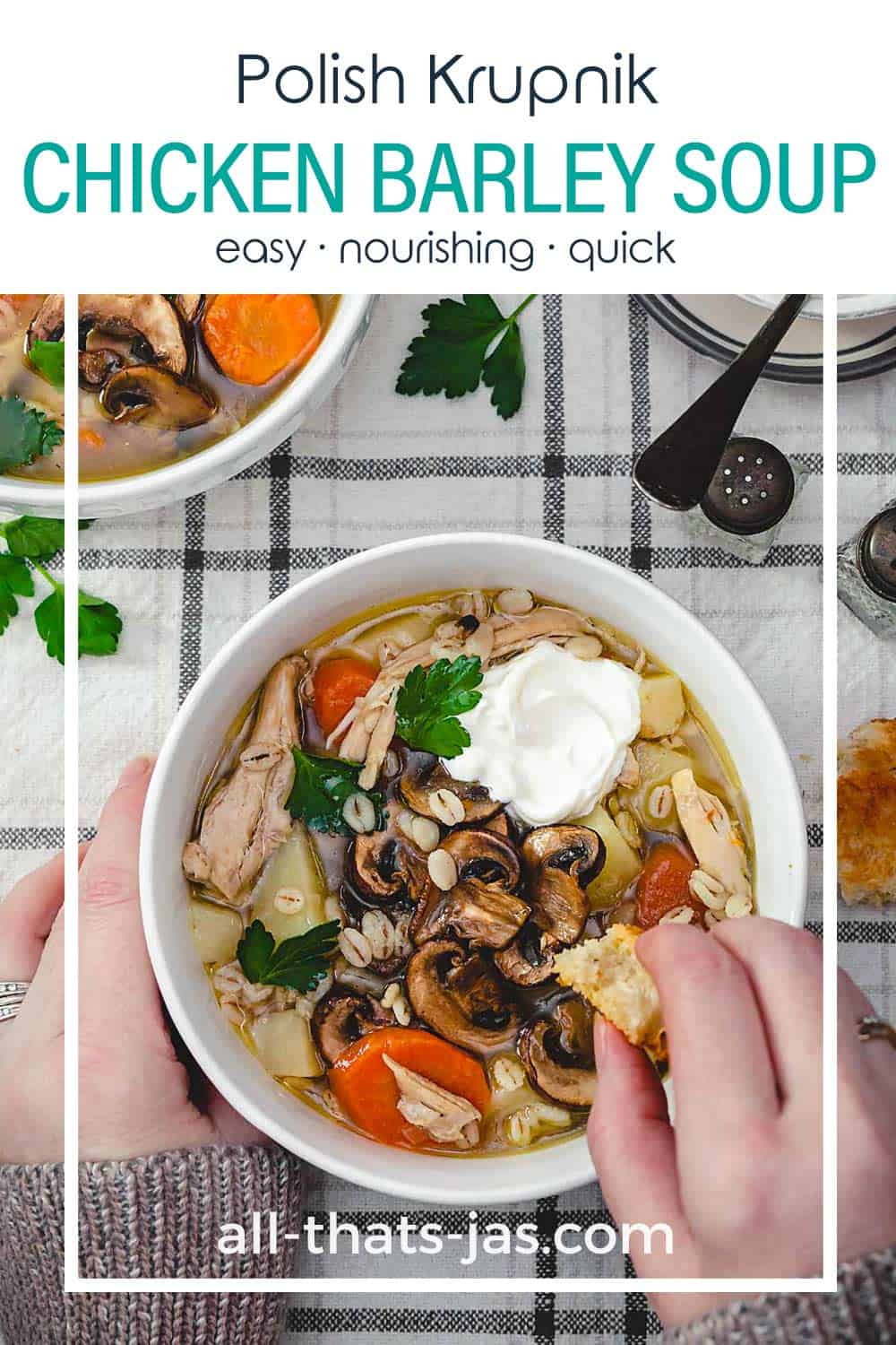A bowl of soup with hands and text overlay.