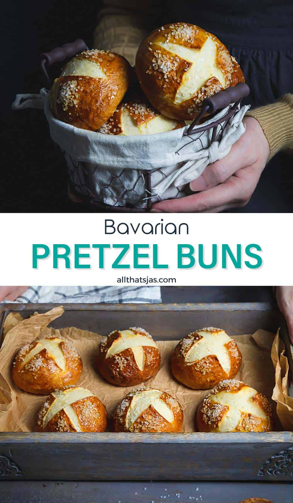 Two photo image of Bavarian pretzel rolls with text in the middle.