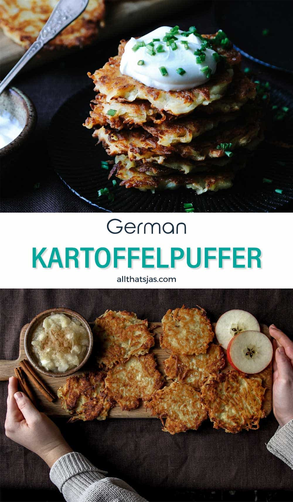 Two photo image of Kartoffelpuffer and text overlay in the middle.