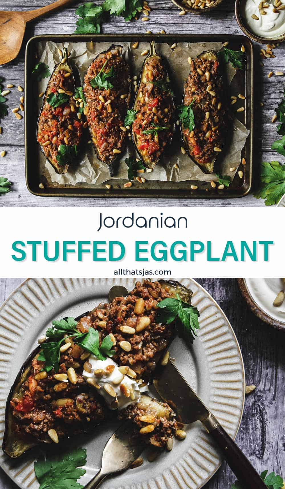 Two photo image of eggplants filled with ground lamb mixture and text in the middle.