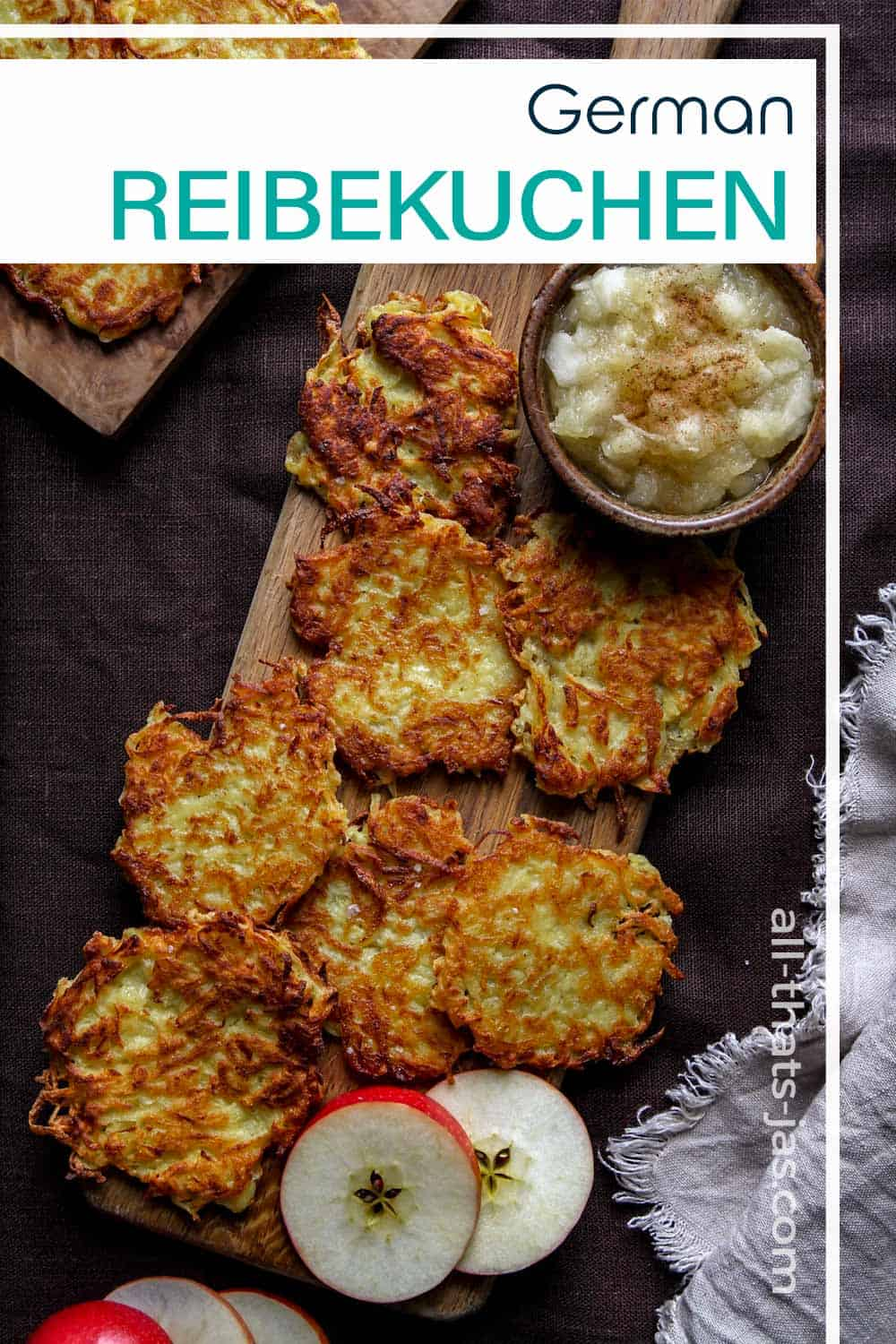 A flat lay of German latkes on a cutting board with text overlay.