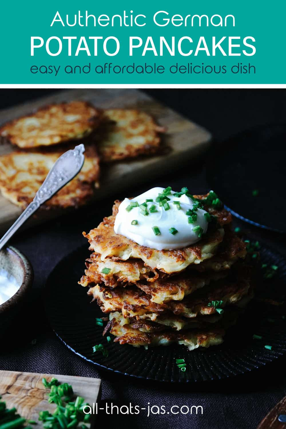 Potato pancakes stacked and topped with sour cream and with text overlay.