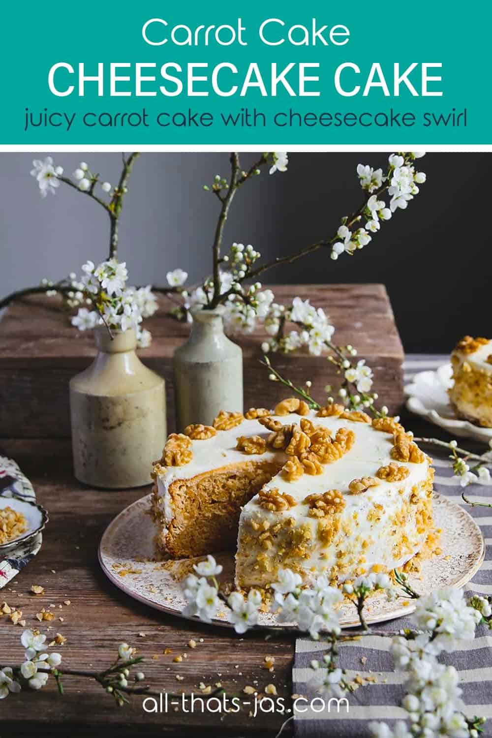 Carrot cake cheesecake cake sitting on a table with spring settings and with text overlay.