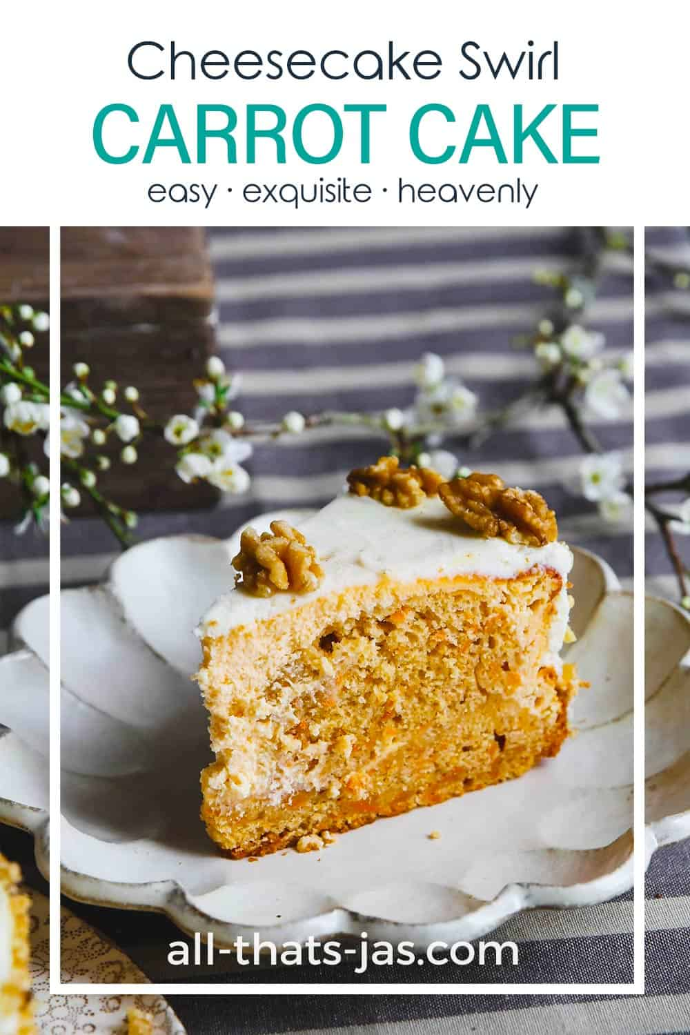 A close up slice of the carrot cake with cheesecake swirl and with text overlay.