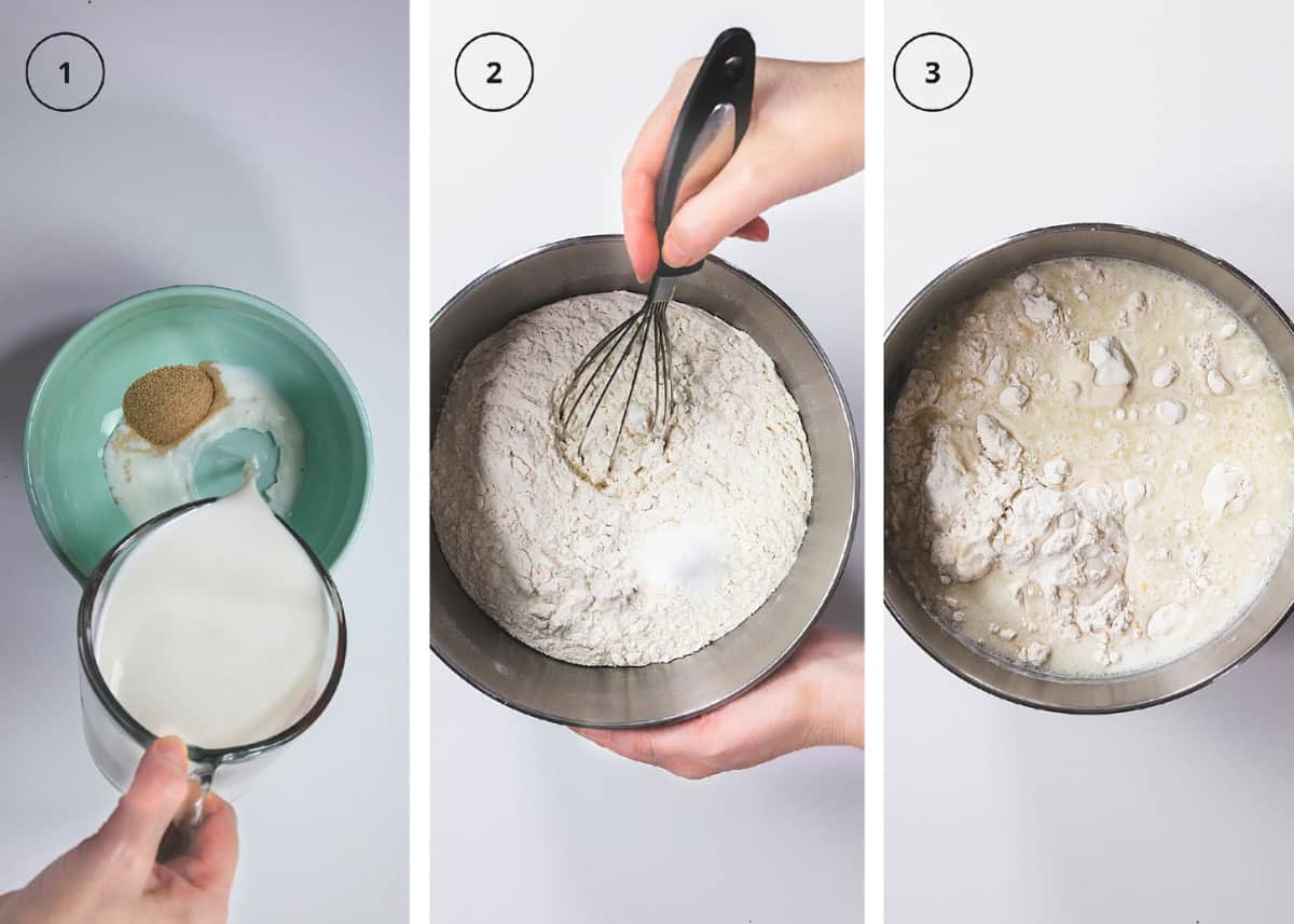 Three step photos with yeast and milk in a bowl, whisking the flour, and starting a dough.