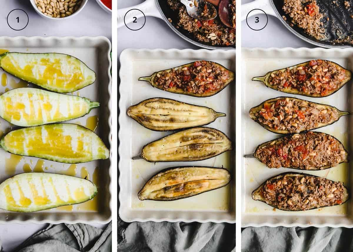 Three photo steps to roasting the eggplants with ground lamb in a baking dish.