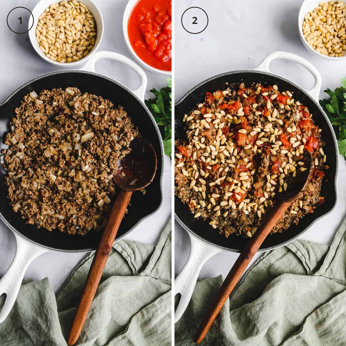 A skillet with ground lamb and a skillet with added tomatoes, spices, and pine nuts.