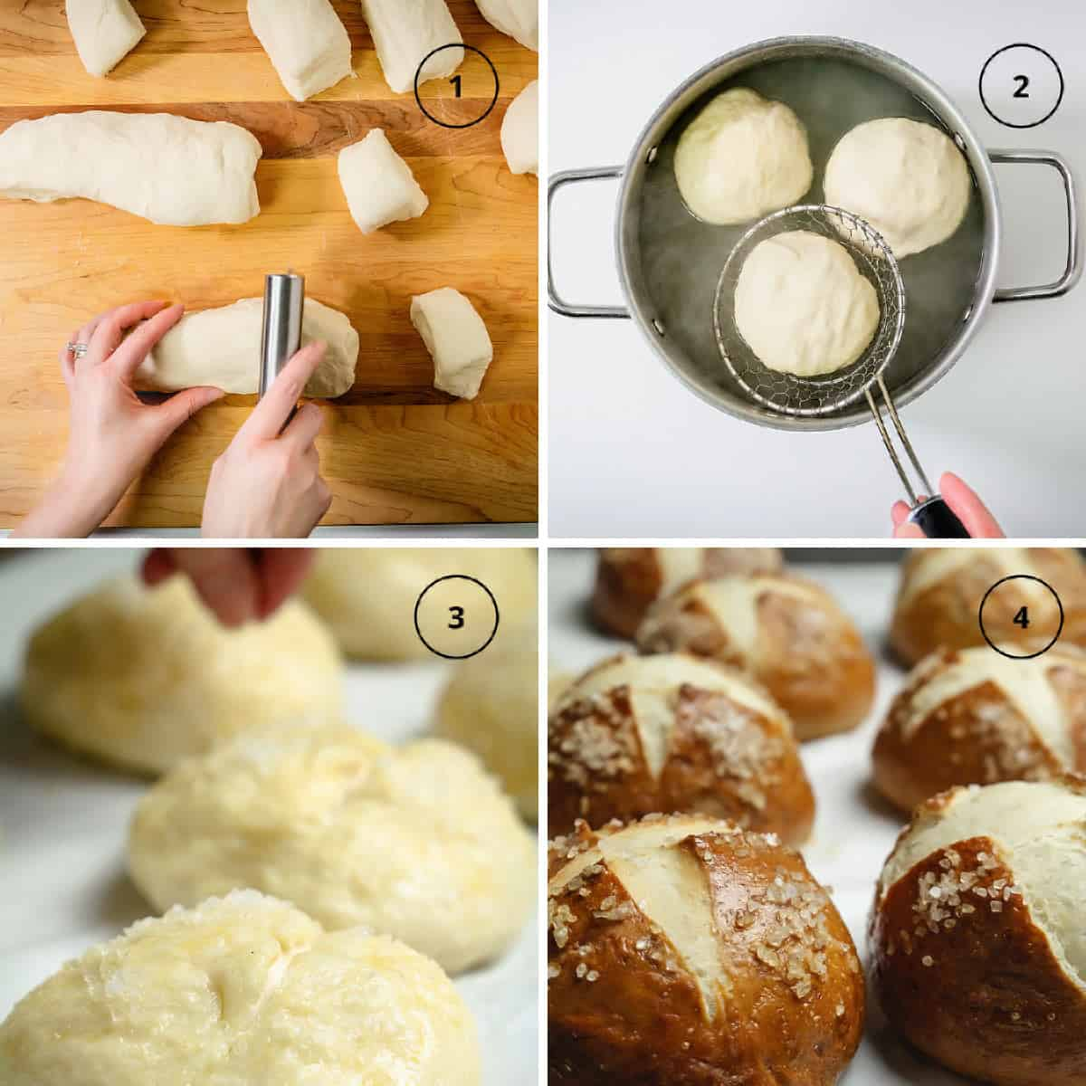 Four images of dough being shaped into balls, dipped in hot lye water, sprinkled with coarse salt, and baked.