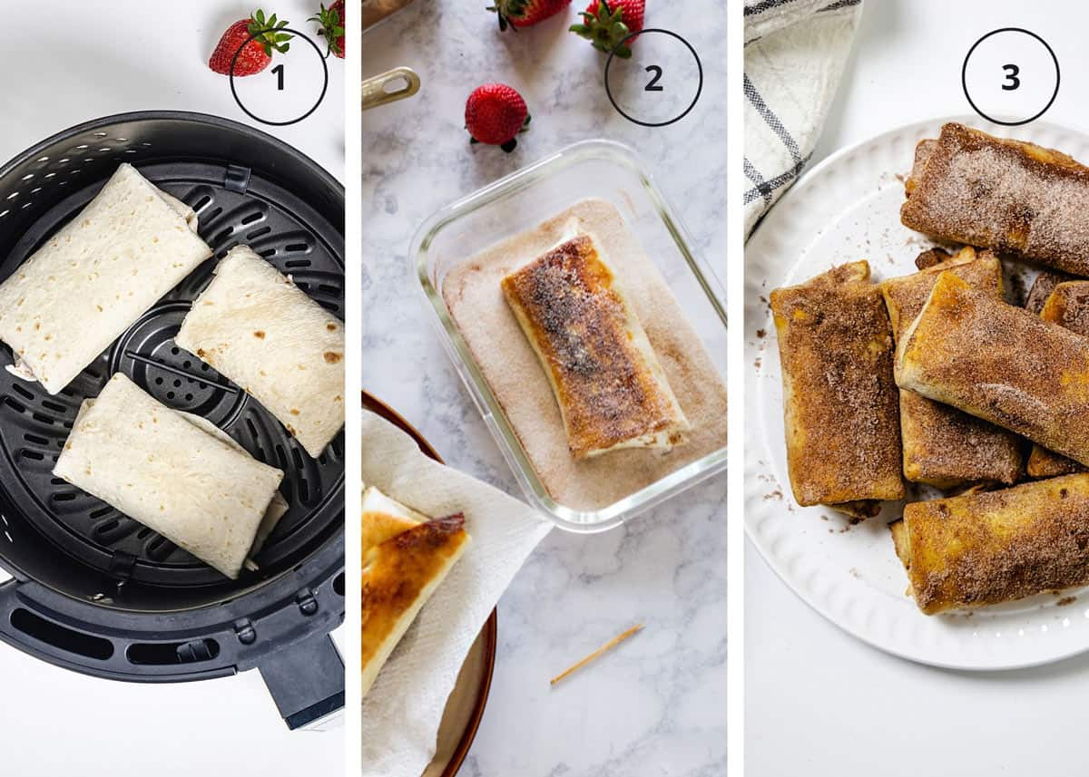 Tortilla roll ups in an air fryer basket, rolling them into cinnamon sugar, and stacked on a plate.