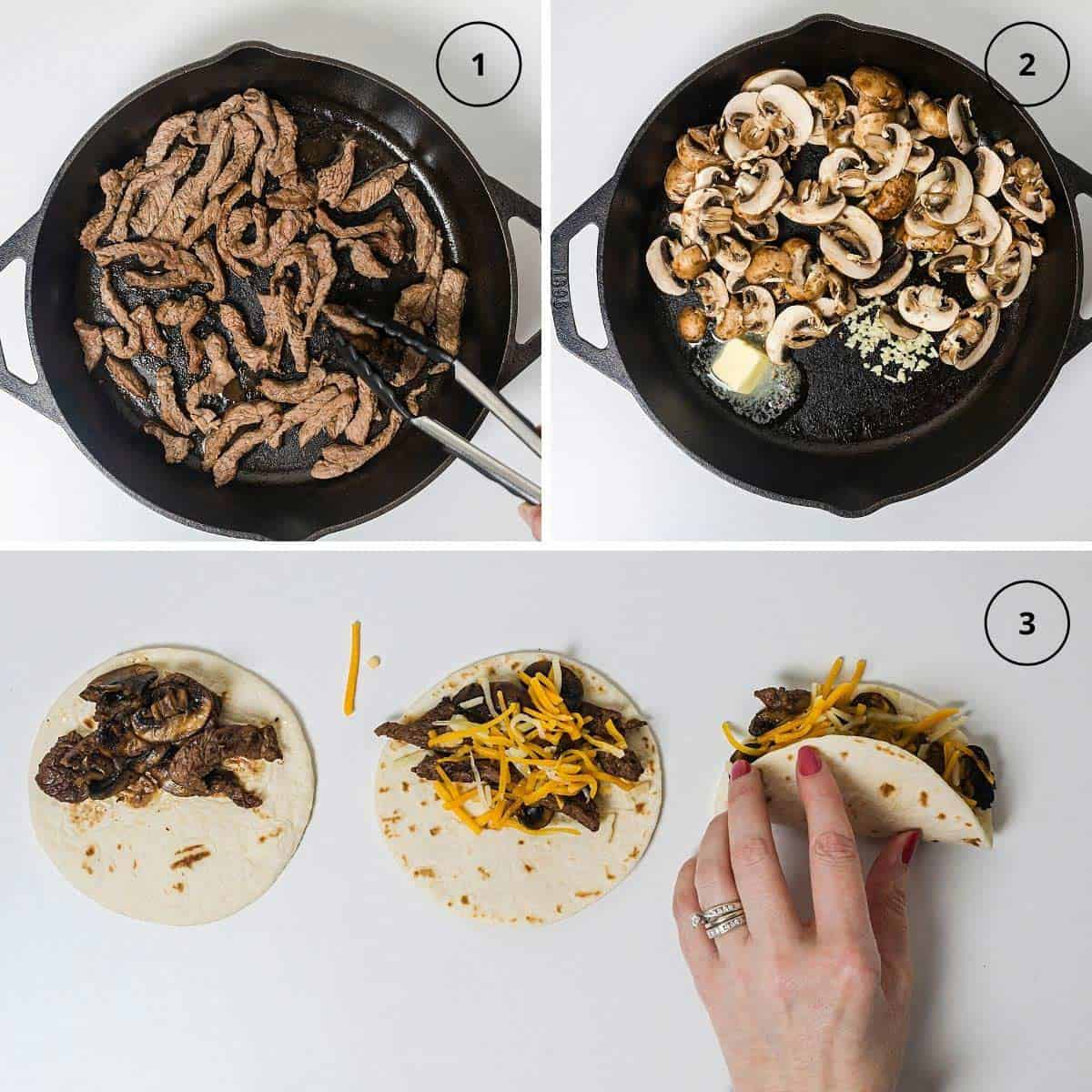 Beef steak strips in a cast-iron skilled, sliced mushrooms in a skillet, and a person assembling quesadillas in steps.
