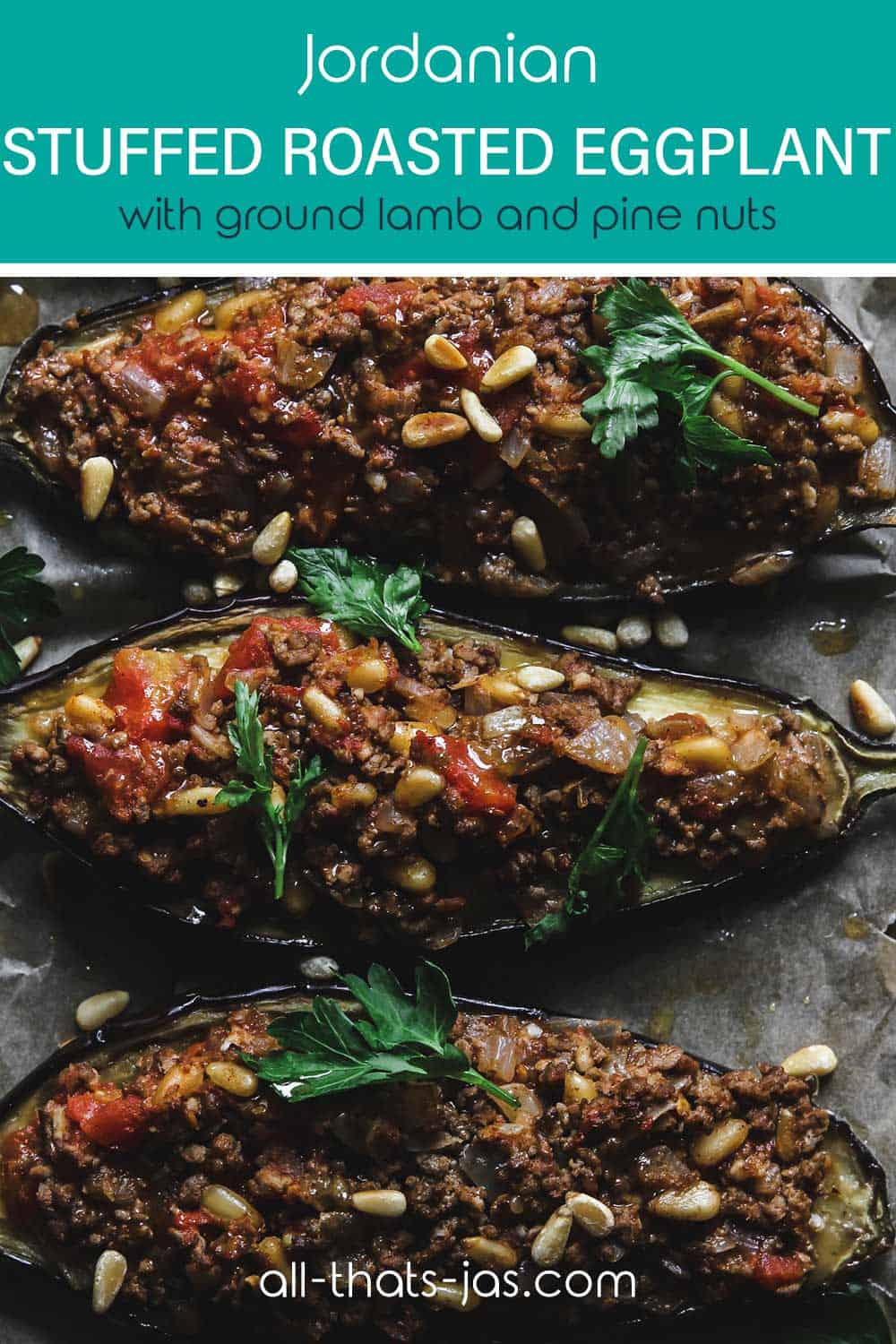 A close up of the Jordanian lamb-stuffed eggplant dish with text overlay.