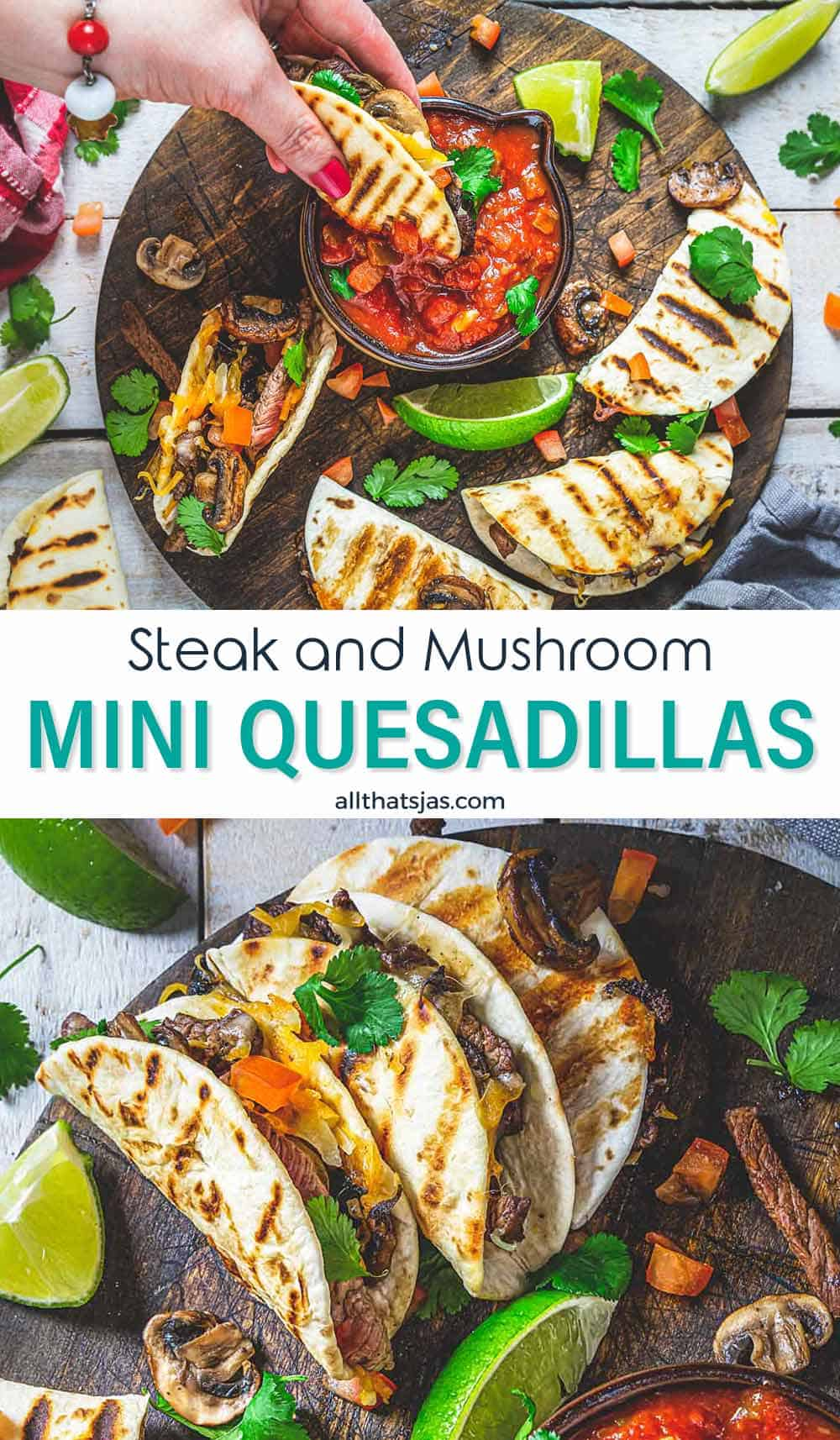Two photo image of quesadillas and text overlay in the middle.