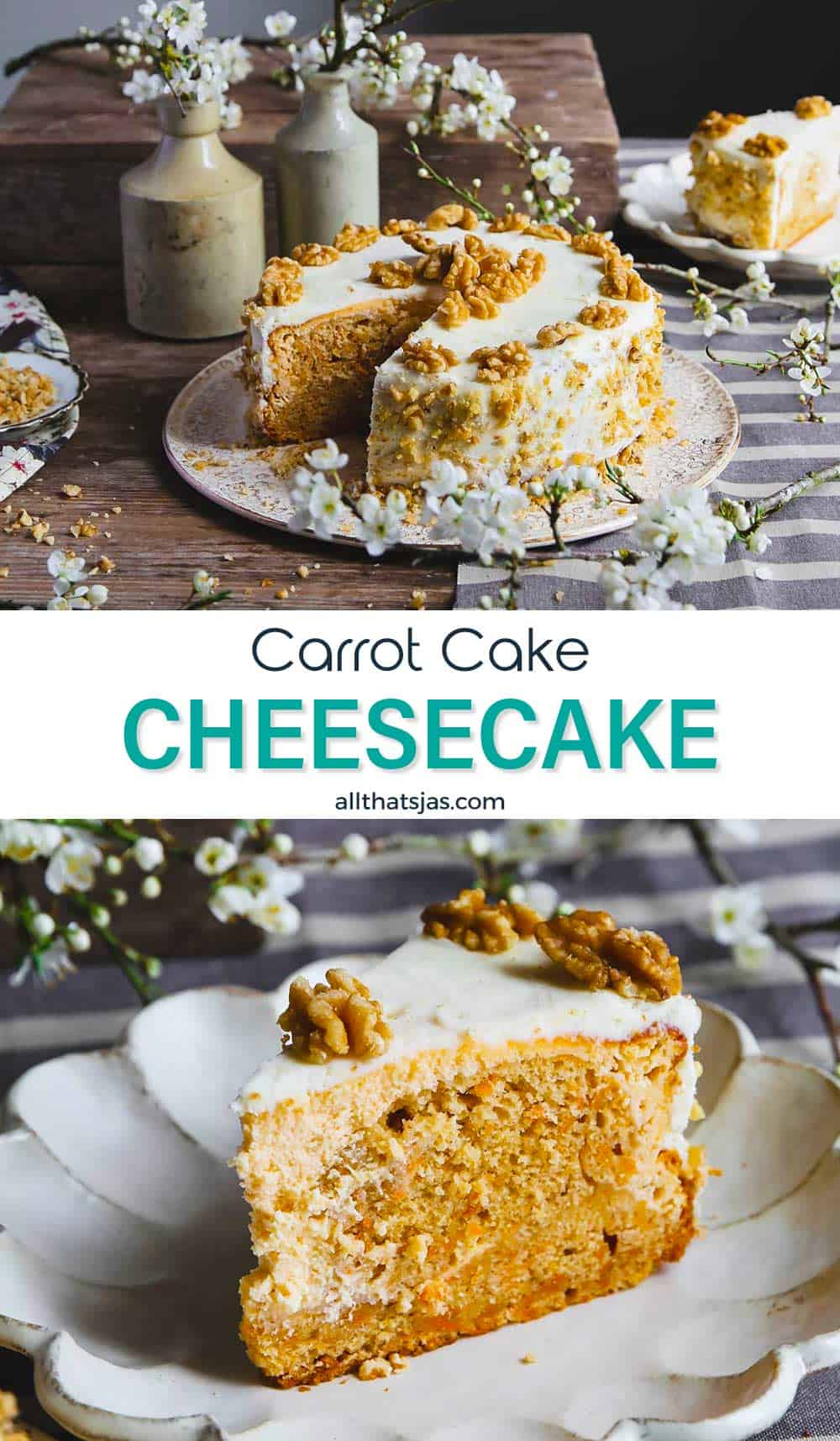 Two phot image with carrot cake cheesecake and a slice with text in the middle.