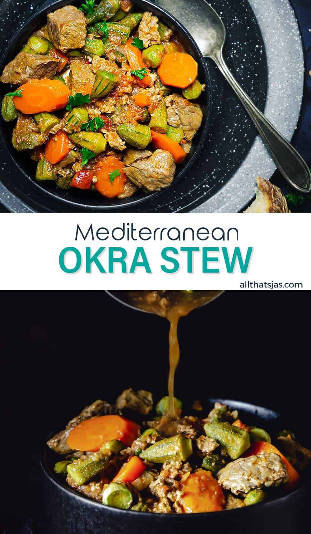 Two photo image of okra stew with text overlay in the middle.