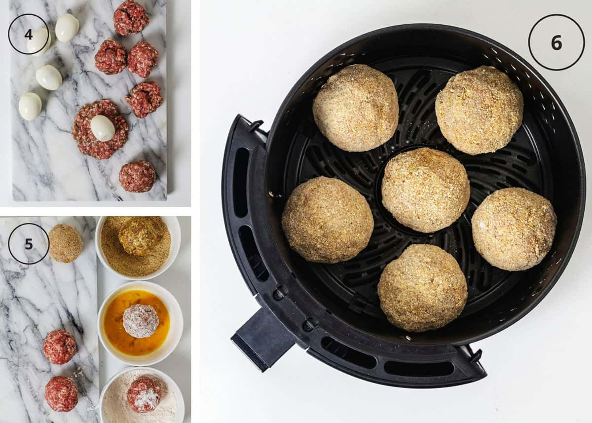 Assembling the eggs by encasing with meat, coating with flour, eggs, and breadcrumbs, and cooking them in an air fryer.