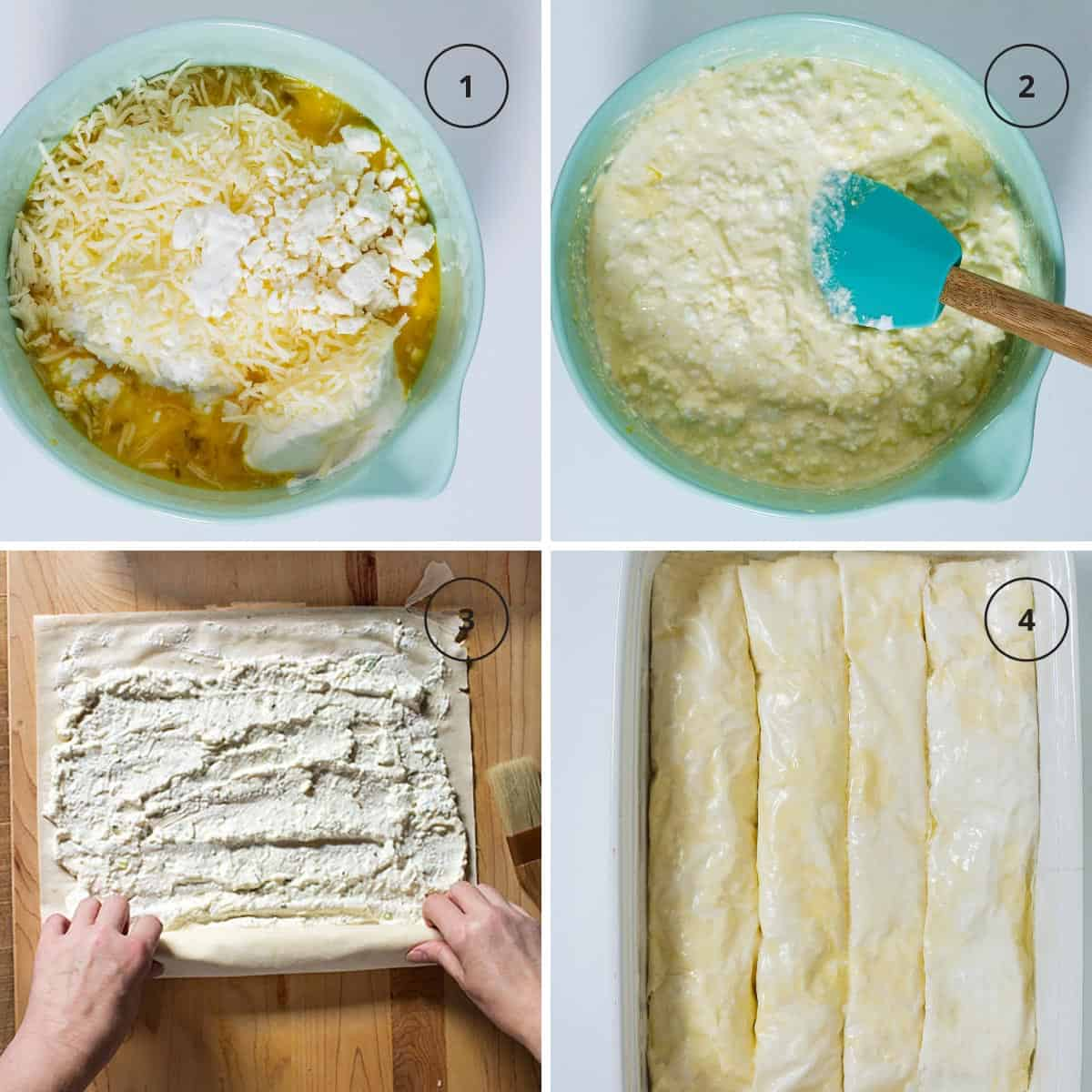 Four photos of steps for making the sirnica with cheese filling in a bowl, layering of the fillo, and fillo rolls in the baking pan.