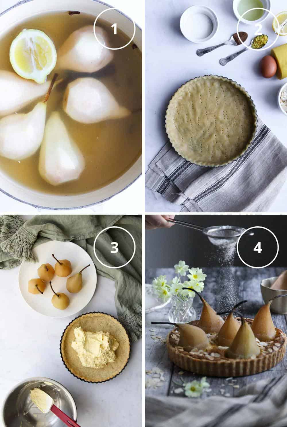 Four steps to making French pear almond tart with poaching the pears, making the tart shell, filling the shell with almond cream, and finished tart being dusted with sugar.