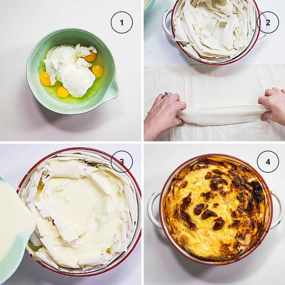 Four photo image with steps to make the savory egg pie with fillo pastry.