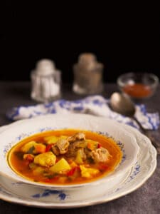 CHicken paprikash in a soup bowl sitting on a plate.