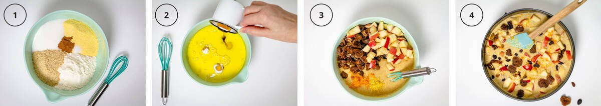 Four steps to making the polenta cake with a bowl of dry ingredients, adding the wet, mixing it with apples and figs, and ready to bake.