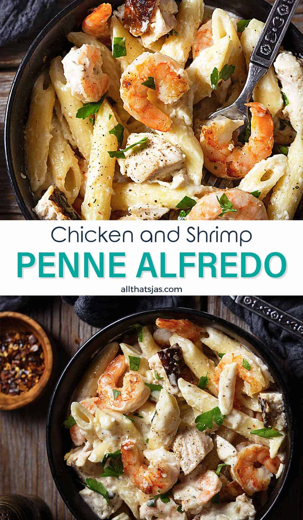 Two photo image with penne in a creamy sauce with protein and text overlay in the middle.
