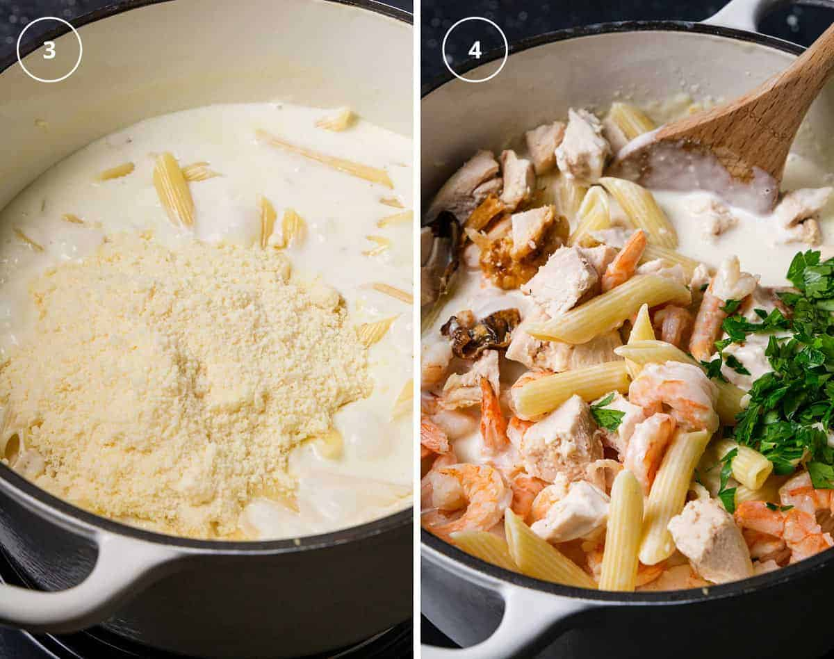 A pot with pasta in a white sauce and parmesan on top and a pot with added chicken, shrimp, and parsley.