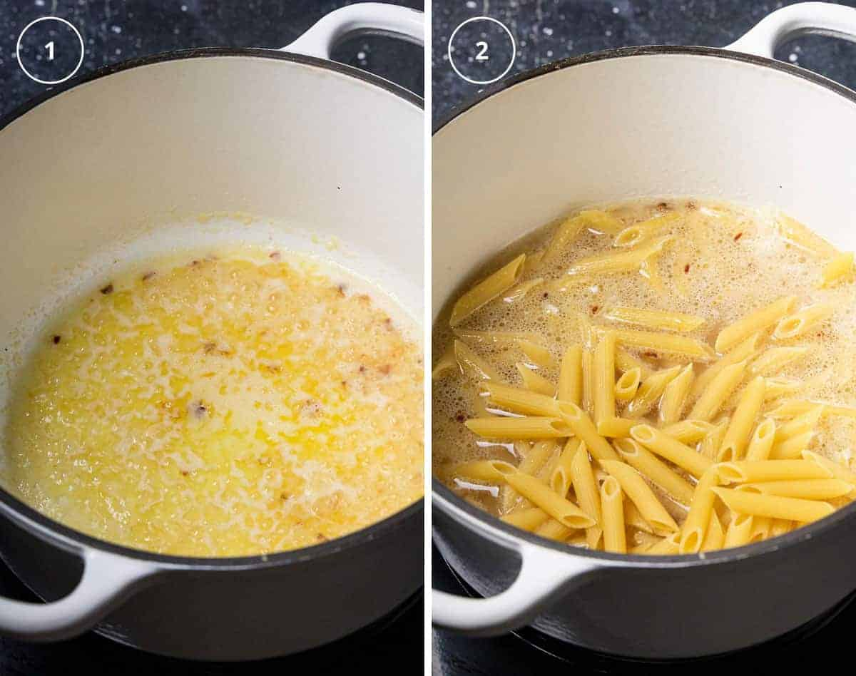 A pot with melted butter, garlic, and white wine, and a pot with added penne pasta.