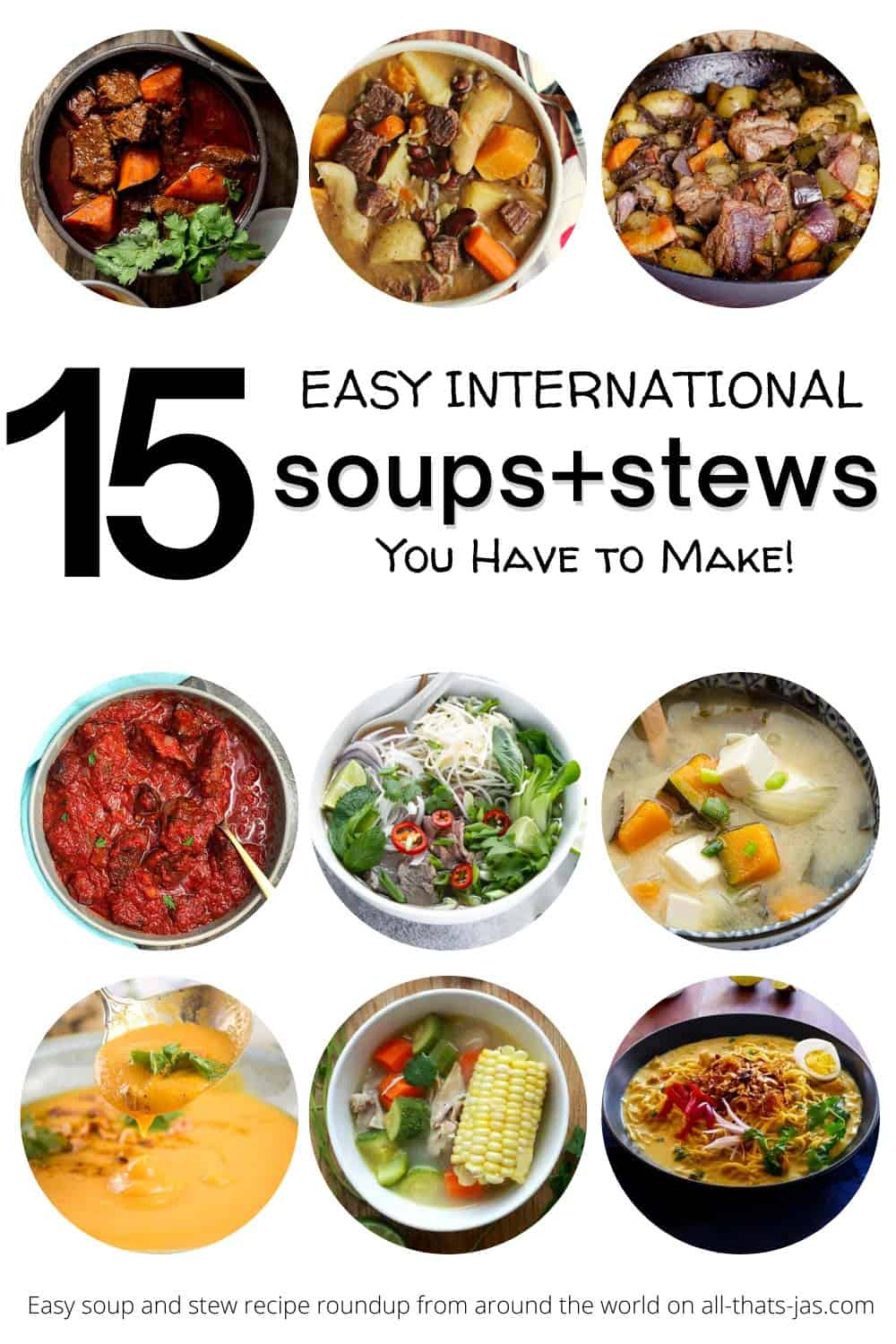 A poster with nine round photos of soups and stews with text overlay.