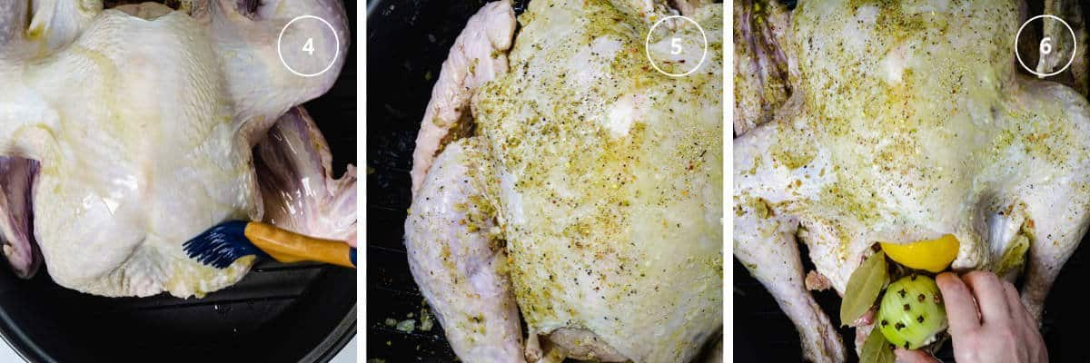 Second 3 steps to seasoning the turkey with melted butter and spice mix, then adding onion and lemon into its cavity.